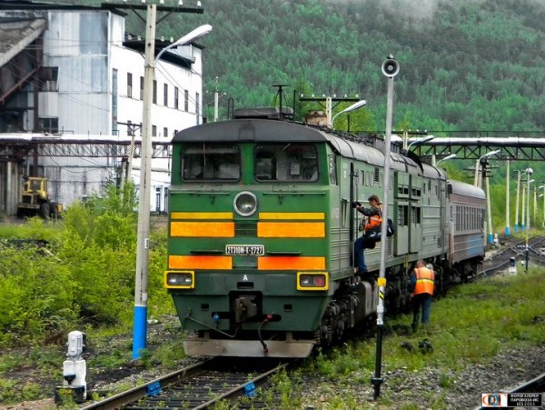A train at Khani railway station in South Yakutia, Siberia, Russia